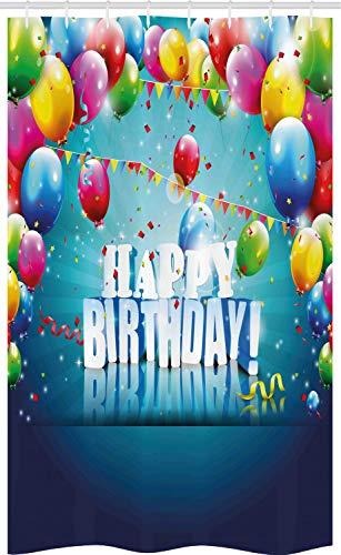 ABAKUHAUS Verjaardag Douchegordijn, Surprise Party 3D-tekst, voor Douchecabine Stoffen Badkamer Decoratie Set met Ophangringen, 120 x 180 cm, Veelkleurig