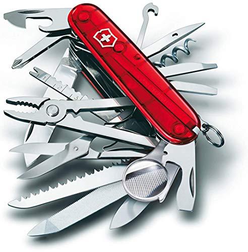 Victorinox Taschenmesser Swiss Champ (33 Funktionen, Kombi-Zange, Schere, Lupe) rot transparent