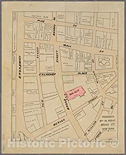 Historic 1894 Map - Property Nos. 43, 45, 47 Broad St, New York.of New York City and State - Manhattan - Vintage Wall Art - 35in x 44in