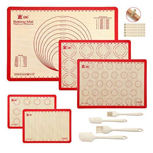 Silikon-Backmatten-Set, Gebäckmatte, Keks-Backmatte, Silikon-Backpinsel und Pfannenwender, antihaftbeschichtet, hitzebeständig für die Herstellung von Keksen, Brot und Gebäck Casual rot
