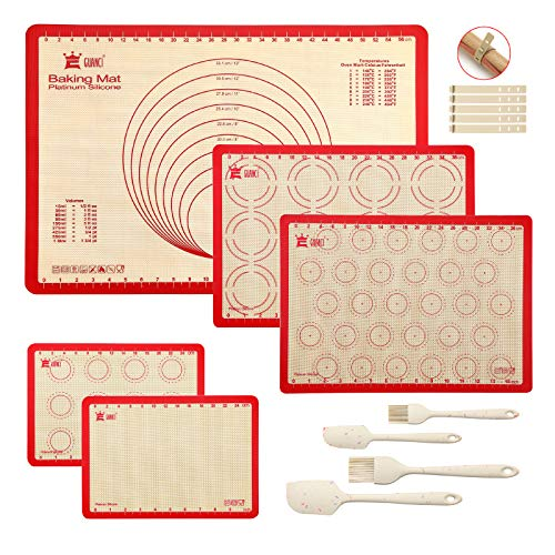 9-Piece Silicone Baking Mat Set,1Pcs 25''x17-1/2'' Pastry Mat, 2Pcs Half Rolling Macaron Baking Mat,2Pcs Quarter Baking Mat,2 Set of Silicone Large&Small Brush&Spatula for Cookies, Bread and Pastry