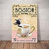 SIGNCHAT Boston Terrier Dog Tea Shop Poster Teeliebhaber