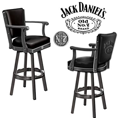 Jack Daniel's Bar Stool Wood w/ Backrest
