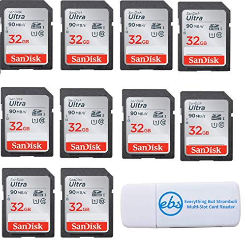 SanDisk Ultra - 10 Pack Bundle UHS-I Class 10 SD Flash Memory Card Retail (SDSDUNC-032G-GN6IN) - With Everything But Stromboli (TM) Combo Card Reader