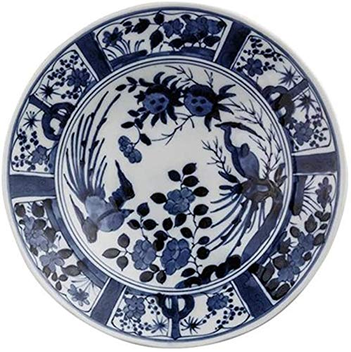 XUEXIU Nostalgia Enamel Side Plate Placas Bandejas Cuchillería De Cerámica Redonda Japonesa-Boca Profunda Desayuno Fruta De Postre Plato De Carne Occidental Molde for Hornear (Color : Blue, Size : A)