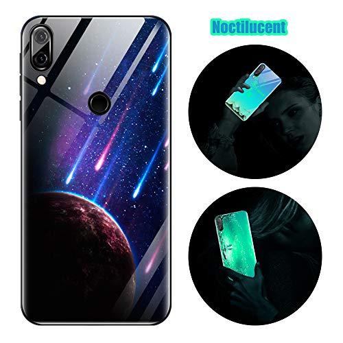 Handyhülle für Samsung A20e, Hülle Leuchtend Silikon + Harte Gehärtetes Glas Zurück Beleuchten Case Schutzhülle mit Dünn Slim 3D Bild Cover Handytasche Samsung A20e (Meteor)