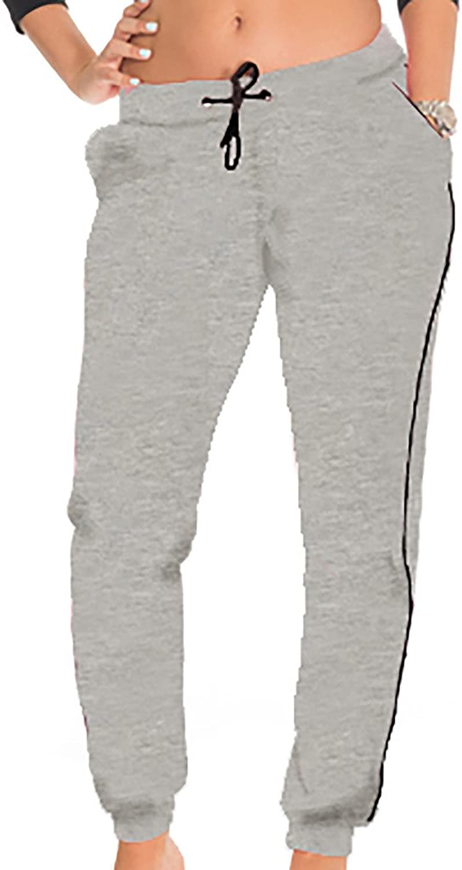 CocoLimon Fleece Jogger Pants for Women  White Trim, Side Pockets, Long