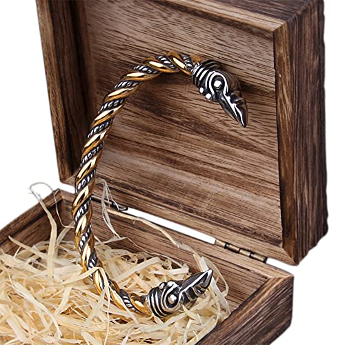 Fandao Herren Wikinger Krähe Armband, Öffnen Armreif, Nordischer Rabe Amulett Edelstahl Manschette Armband, Einstellbar, Antistatisch Armring,Gold