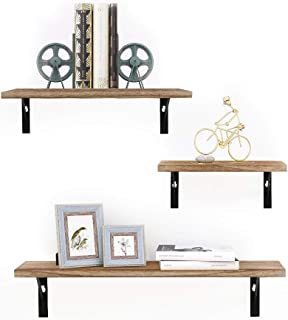 Haton Floating Shelves, Rustic Wood Wall Storage Shelves, Wall Mounted Decorative Display Shelves, Shelf Organizer Set of 3 for Living Room, Bedroom, Kitchen, Bathroom, Office