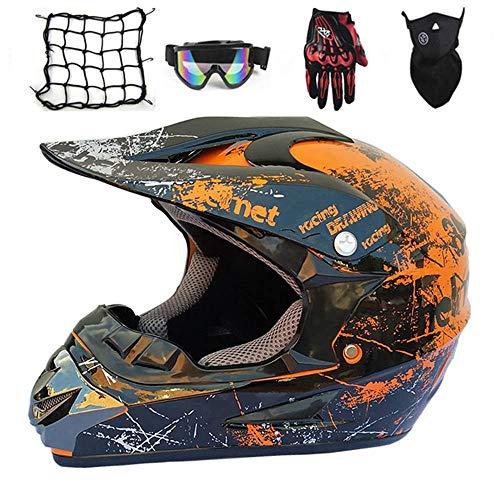 NKFDLY-Motorradhelm, Motorrad Crosshelm,Full Face MTB Helm Kinder CrossHelm Motorradhelm Kinder,Motocross Helm mit Brille Handschuhe Maske Motorrad Netz, (5 Stück) (B, S)