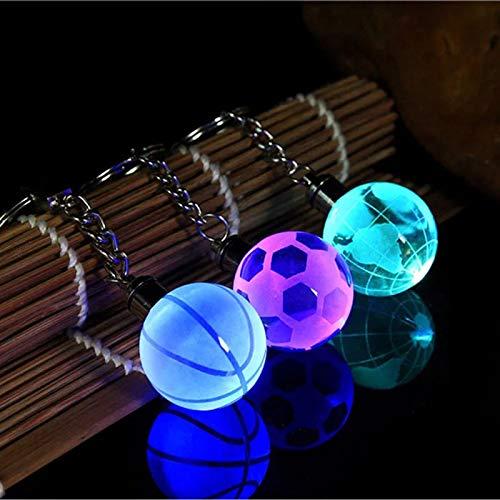 aolongwl Llavero de cristal llevó la luz llavero del coche llavero llavero de fútbol baloncesto bola de la tierra colgante llavero para regalo favorito del deportista