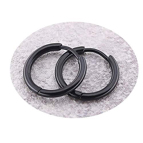 Gymqian Novedad Pendiente de acero inoxidable para hombres y mujeres Pendientes de aro con forma de círculo/Negro / 2.0x12mm