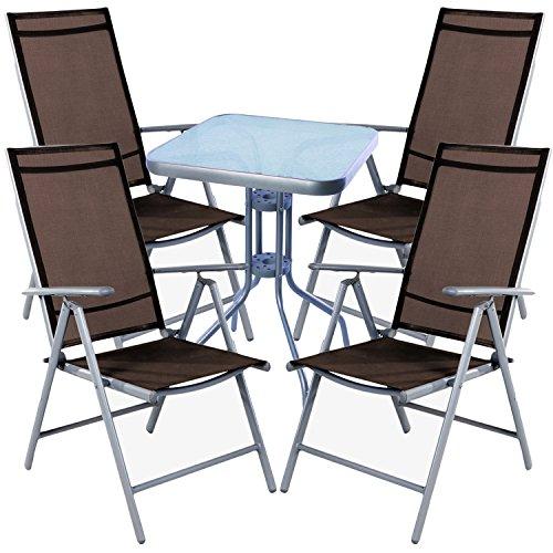 mojawo Salon de 5 pièces Bistro Table Métal 60 x 60cmh70 cm + 4 chaises pliantes en aluminium/textile gris argenté/chocolat
