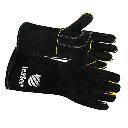 """Leather Welding Gloves by LeaSeek - Heat Resistant & Flame Retardant Barbecue Gloves & Fireplace Gloves & Grill Gloves & BBQ Gloves, Heavy duty, Black - 14 """""""