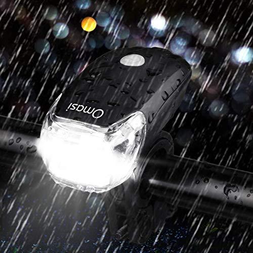 Omasi Fahrradbeleuchtung LED StVZO Zugelassen Fahrradlicht Fahrradlampe USB Wiederaufladbar Fahrrad Frontlicht Wasserdicht Fahrradleuchte 1200mAh Akku MTB Rennrad Schwarz - 6