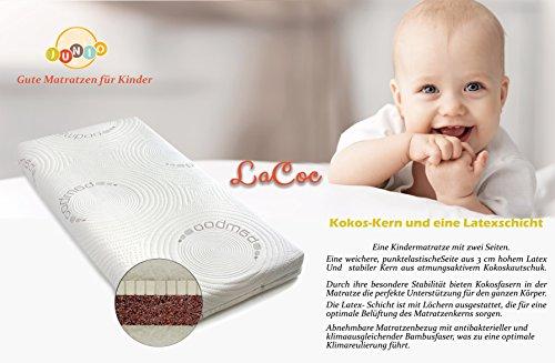 Colchón de cuna de núcleo fibra de Coco y 100 % Látex , Colchón de bebé 60x120x12