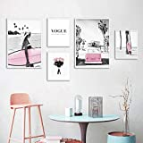 Beach Pink Surfboard Landscape Fashion Poster Nordic Wall Art Canvas Print Vogue Painting Girls Room Decoration Picture A3 30x42cmx3 B2 50x70cmx2 Unframed