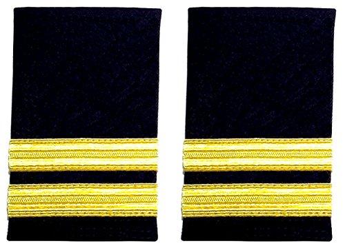 Schulterklappen, zwei Streifen, Schwarz mit goldfarbenen Streifen, Piloten, Fluggesellschaft oder Marine (1 Paar)
