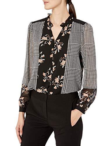 Calvin Klein Damen Button UP Blouse with Ruffle Collar Hemd, Karomuster, X-Groß