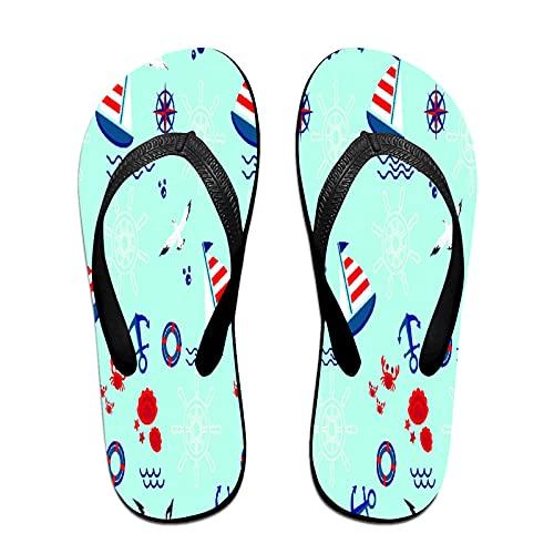 Schmale Unisex-Sandale mit Flip-Flop,Segelboot-Anker-Lenkrad und Rettungsring,Yoga Mat Flip Flops Bequemer Strand Lederriemen mit leichter EVA Sohle Größe S