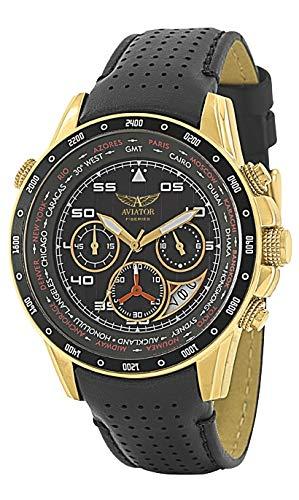 DISEÑO DE Hada con ALAS AVW7770G116 Dorado CRONÓGRAFO ENROLLARSE Negro Reloj para Correa DE Piel