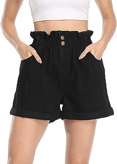 Anienaya Women's High Waisted Denim Shorts Classic Button Hem Rolled Jean Shorts with 4 Pockets