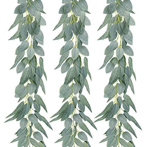AGEOMET 3pcs Artificial Eucalyptus Garland Eucalyptus Vines, Greenery Garland Composed of 2 Types of Eucalyptus Leaves for Room Decor, Wedding Garland Spring Garland for Wedding Wall Table Decor