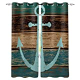 Kitchen Blackout Curtains Panels Window Treatments for Living Room Bedroom Insulated Grommet Window Curtains and Drapes,Blue Nautical Anchor Rustic Old Barn Wood 2 Panels 27.5x39 Inch