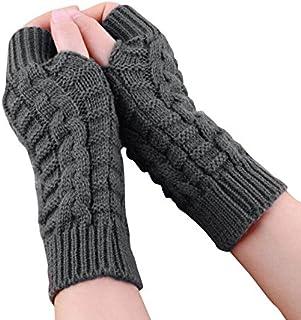 Fingerless Winter Warmer Arm Gloves Gloves for Ladies Women Girl Color Gray (Dark Gray)