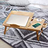 Laptop Desk for Bed, Portable Bamboo Lap Desk Adjustable Height for Writing, Folding Breakfast Serving Bed Tray with Storage Drawers, Couch Laptop Desk Table for Home Office Travel (19.7 x 11.8 Inch)