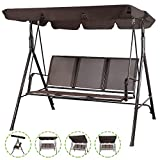 Flex HQ Patio Porch Swing Chair Canopy Outdoor Lounge 3-Person Seat Hang Bench Hammock (Brown)