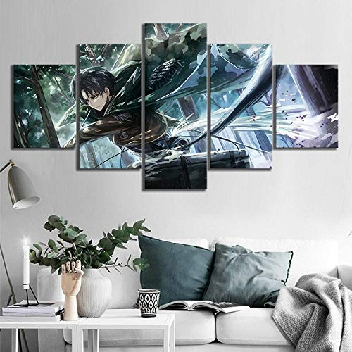 ZYHCHH Bild auf Leinwand Modulare 5 Leinwandbilder Kunst Stück Poster Deko Wandbild Leinwanddruck Wandkunst 5 Panel japanische Anime Hero Boy Charakter Poster Wohnzimmer Wohnkultu 200x100cm(Rahmenlos)