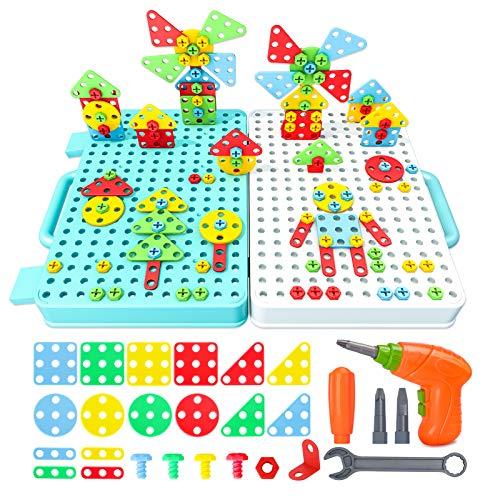 Beinhome 316 Pcs Juguetes Montessori Puzzles 3D Bloques Construccion Rompecabezas Mosaicos Infantiles con Taladro Eléctrico Juegos de Manualidades para Niños 3 4 5 6 7 Años