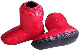 Wodeni - 1 par de Patucos de plumón, Calcetines Impermeables, Bolsa de Viaje, ultraligeros y Suaves para el hogar, Rojo, Medium