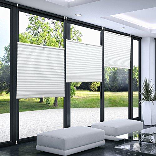 KINLO 80 x 130 cm Estor Plisado para Ventanas Sin Necesidad de Taladrar Noche y Día Altura Ajustable Cortina de Plisado Blanco