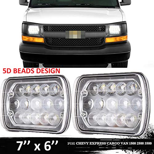 Fits for Chevy Express Cargo Van 1500 2500 3500 Van Ford F550 F450 LED Headlight, 7x6 or 5x7 Inch Headlamp Projector Replacement Kit High/Low Sealed Beam Super Bright, H6054 H6014 H5054