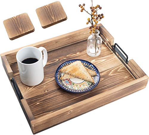 Premium Home Serving Tray: Large food serving tray with handles, ottoman tray, decorative tray for coffee table, wooden tray, serving trays for ottomans, coffee Tray, Rustic table couch breakfast tray