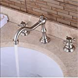 Taps Luxury Basin Faucet Dual Holder Three-Hole Bathroom Faucet Brushed Nickel Taps for Hot and Cold Bathroom 2 Handle