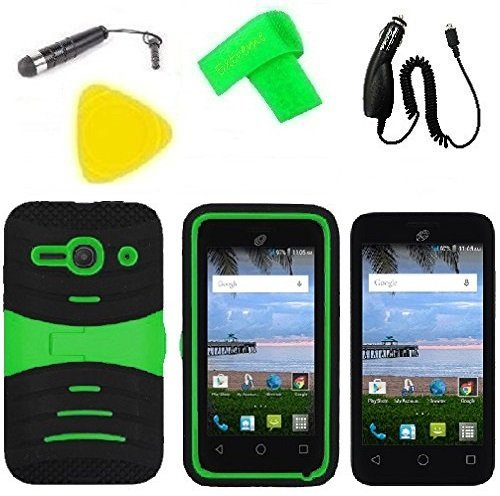 Heavy Duty Hybrid Phone Cover Case Cell Phone Accessory + Car Charger + Screen Protector + Extreme Band + Stylus Pen + Pry Tool For Alcatel Onetouch Pixi PULSAR LTE A460G (S-Hybrid Black Green) -  ExtremeCases