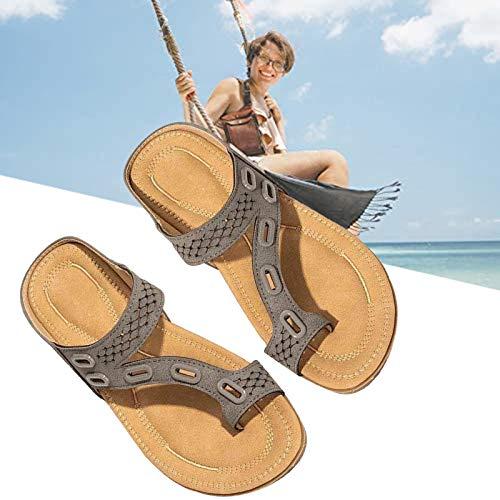 SHUIZHUYU Zapatillas OrtopéDicas SeñOra,Sandalias de corrección de Hueso de Dedo Gordo para Mujer, Sandalias ortopédicas de juanete Corrector con Soporte de Arco Zapatillas Romanas 35 Gray