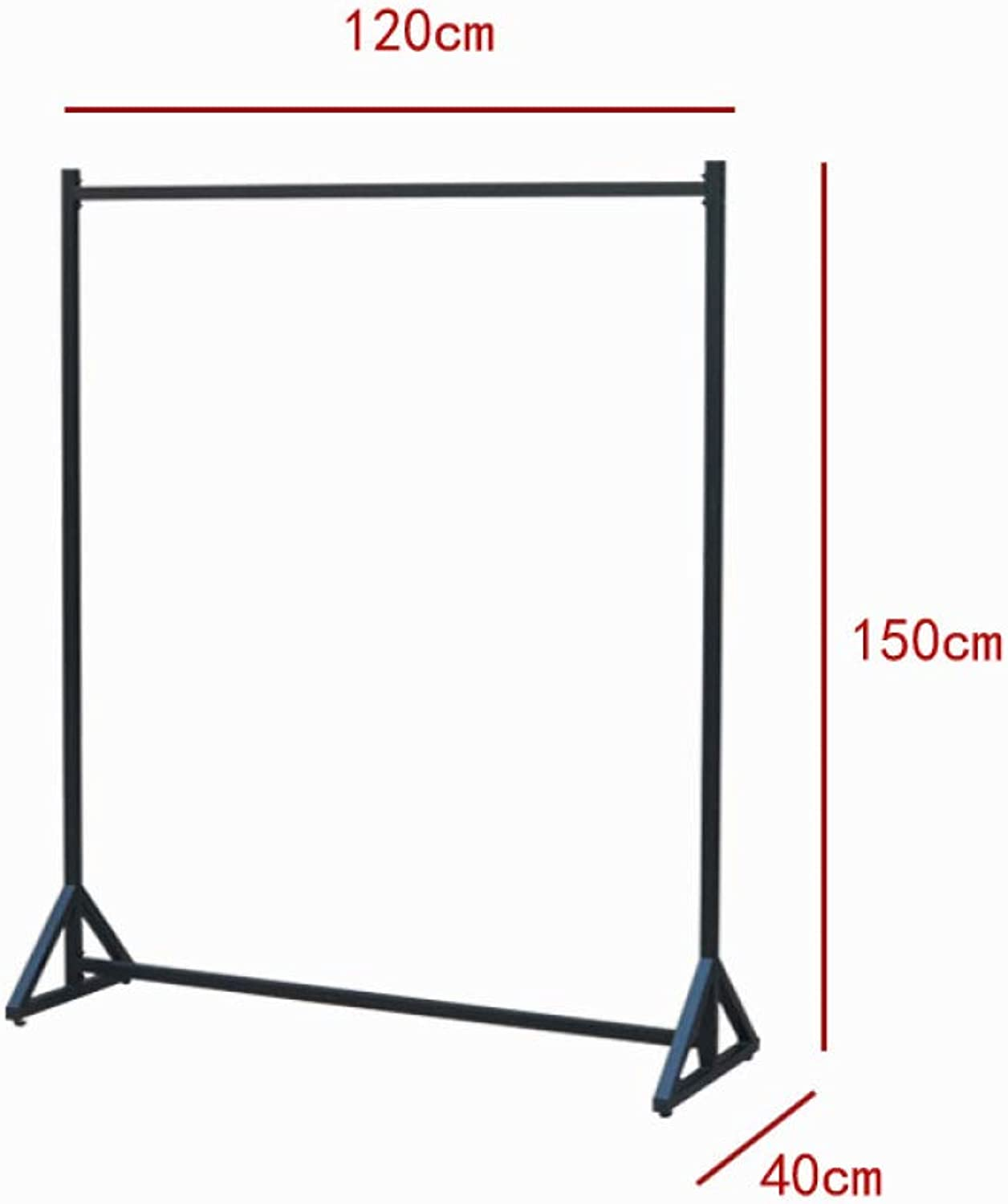 HHXD Clothing Store Creative Decoration Display Stand Floor-Standing Hanger Save Space and Strong Load Durable Black   120 x 40 x 150 cm