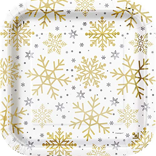 Unique Party 77125 - 23cm Square Foil Silver and Gold Snowflakes Christmas Paper Plates, Pack of 8