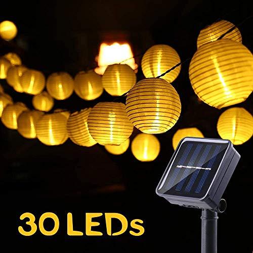 NEXVIN Solar Lichterkette Lampions Aussen, 6M 30 LED Außenlichterkette Laternen, 2 Modi Wasserdicht Solarbetrieben Lichterkette Außen für Garten, Hof, Hochzeit, Fest Deko (Warmweiß)
