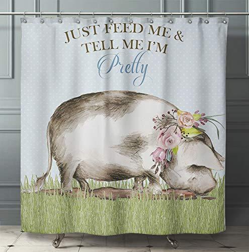 Silly Goose Gifts Schweinchen Schweinchen Kunstdruck Wasserfarben Design Wanddekoration Set (Duschvorhang)