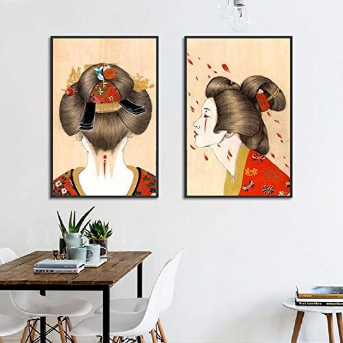 OCRTN Lienzo Cuadros de Estilo nórdico Arte de la Pared Tipo de Cabeza Japonesa Modular Decoración del hogar Pintura Impresiones Póster para decoración de Sala de Estar - 40x60cmx2 (Sin Marco)