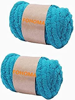 Super Bulky Chunky Blanket Chenille Yarn for Arm Knitting, 2 Pack Polyester Easy Care Weaving Yarn Luxury Thick Yarns (Lak...