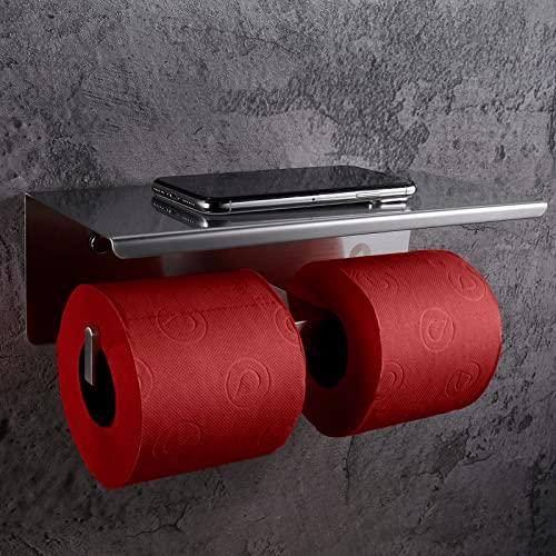 SimpleHome Basics   Edelstahl Toilettenpapierhalter ohne Bohren für 2 Rollen, doppelter Klopapierhalter mit Ablage, gebürstet.