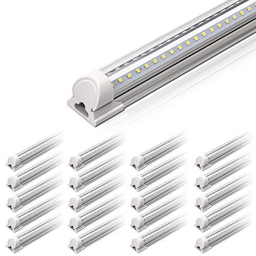 Barrina 4FT LED Shop Light, 40W 5000LM 5000K(100,000lumens Totally), Daylight White, V Shaped, Triple Glow Light, led Light Strip, T8 LED Tube Lights, LED Shop Lights for Garage 4 Foot (Pack of 20)