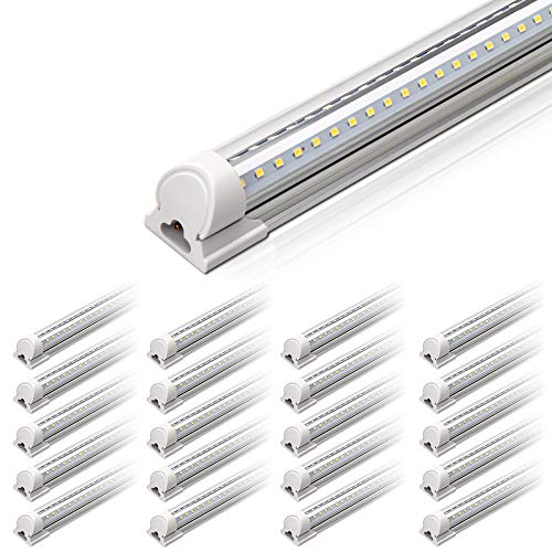 Barrina 4FT LED Shop Light, 40W 5000LM 5000K(100,000lumens Totally), Daylight White, V Shaped, Triple Glow Light, led Light Strip, T8 LED Tube Lights, LED Shop Lights for Garage 4 Foot (Pack of 20)