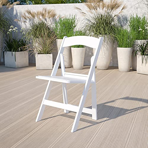 Flash Furniture Hercules Folding Chair - White Resin – 1000LB Weight Capacity - Comfortable Event...